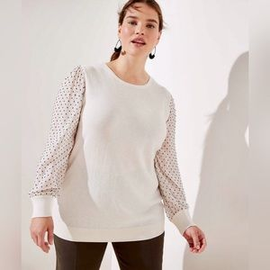 NWOT LOFT Swiss Dot Sleeve Crewneck Sweater